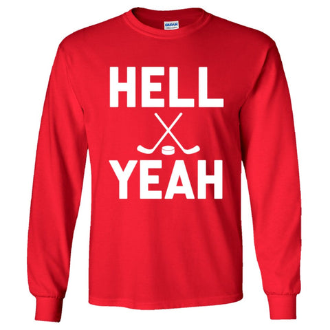 Hell Yeah Hockey Shirt Men's Long Sleeve T  - Red - 5XL