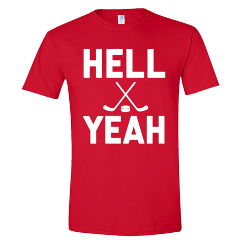 Hell Yeah Hockey Shirt Men's Slim Fit  - Red - 3XL