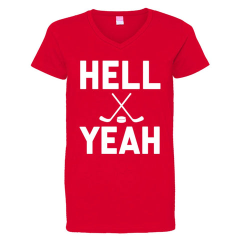 Hell Yeah Hockey Shirt Women's V-Neck - Red - 3XL