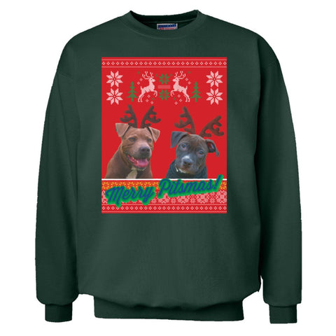 "Merry Pitmas Ugly Holiday Sweater: ""Blue & Raven"""