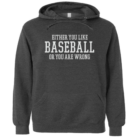 Either You Like Baseball or You're Wrong Shirt Men's Premium Hoody - Charcoal Heather - S