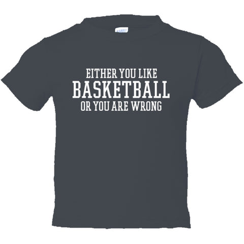 Either You Like Basketball or You're Wrong Shirt Toddler Short Sleeve Tee - Charcoal - 2