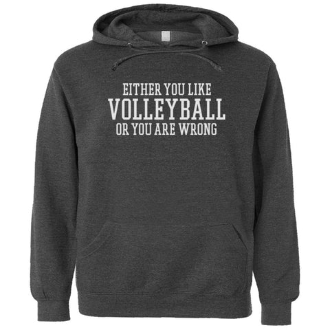 Either You Like Volleyball or You're Wrong Shirt Men's Premium Hoody - Charcoal Heather - S