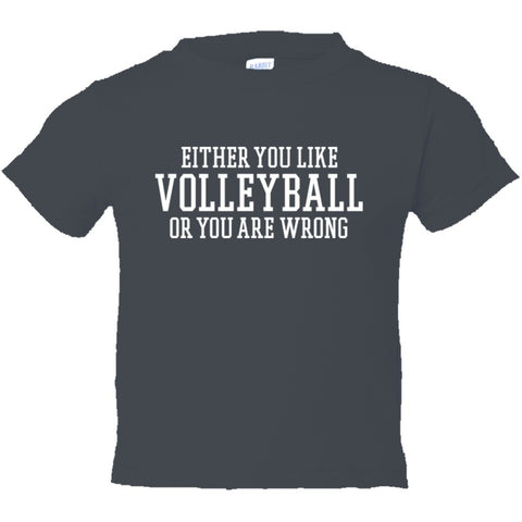 Either You Like Volleyball or You're Wrong Shirt Toddler Short Sleeve Tee - Charcoal - 2
