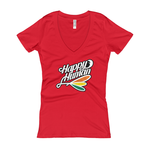 Happy Human Women's V-Neck T-Shirt