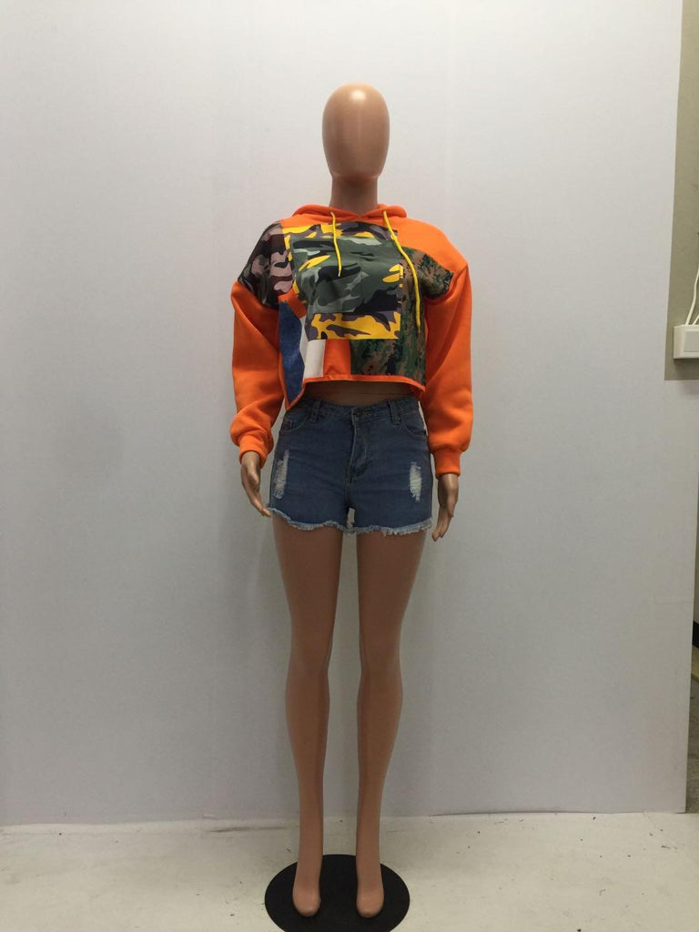 Leisure Orange Print Hoodie Top