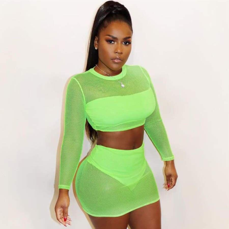 Mesh Turtleneck Neon Green Two Piece Set