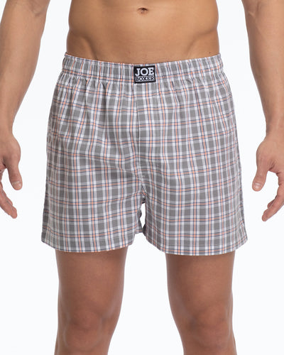 Men's Loose Boxers | Poplin Grey Check