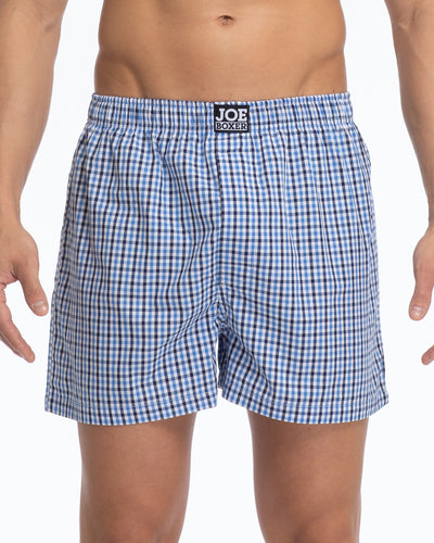 Men's Loose Boxers | Poplin Blue/White Plaid