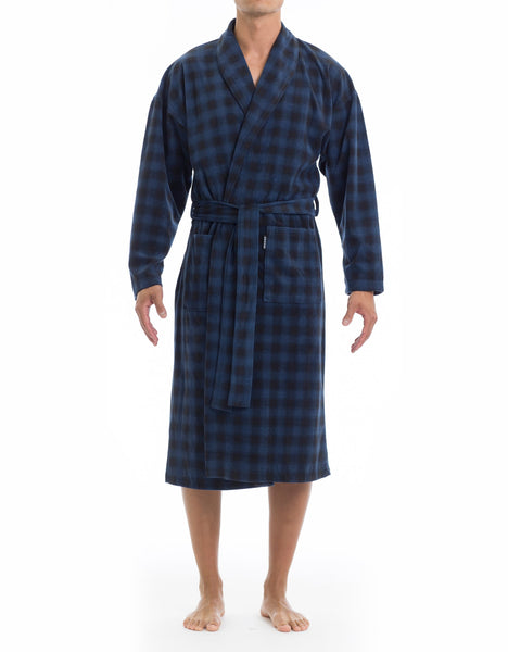 Microfleece Robe - Blues Check