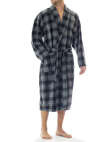 Microfleece Robe - Black Plaid