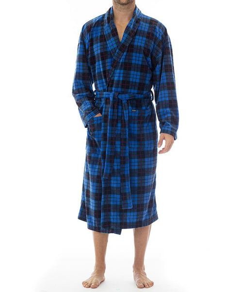 Microfleece Robe - Blue Plaid