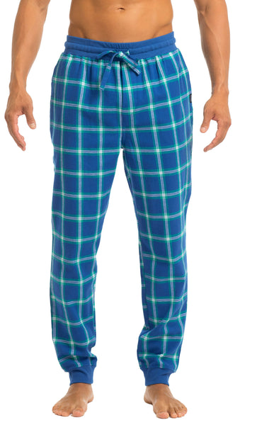 Men's Joggers | Blue & Green Flannel