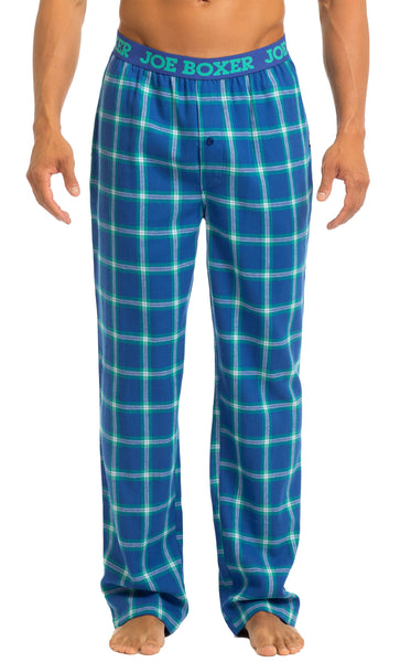 Men's Pajama Pants | Blue & Green Flannel