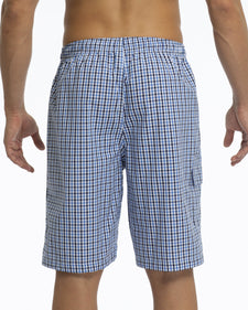 Men's Pajama Shorts | Poplin Blue/White Plaid