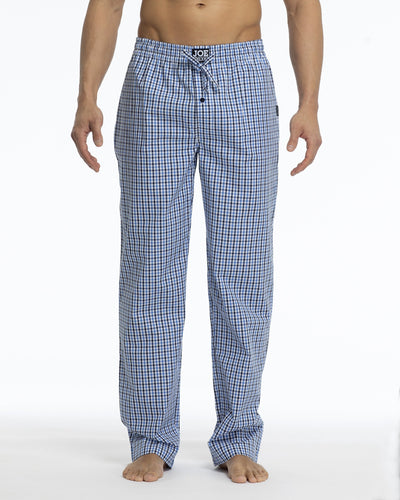 Men's Pajama Pants | Poplin Blue/White Plaid