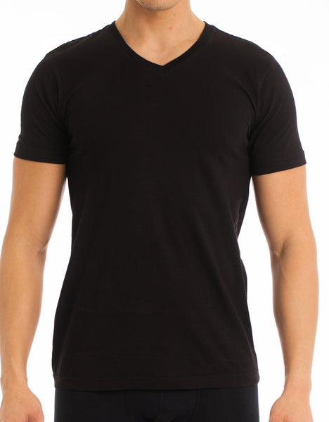 Men's T-Shirt | Classic V-Neck Black 4-Pack