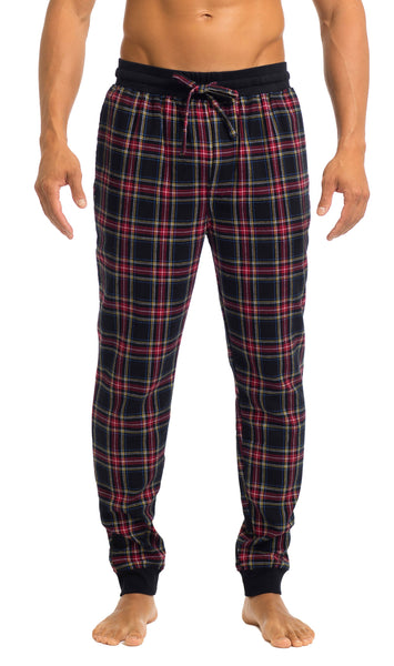 Men's Joggers | Black & Red Flannel