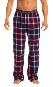 Men's Pajama Pants | Navy & Red Flannel