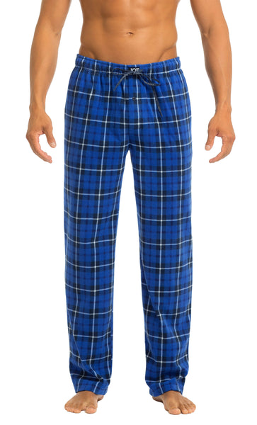 Men's Microfleece Pants | Blue Plaid