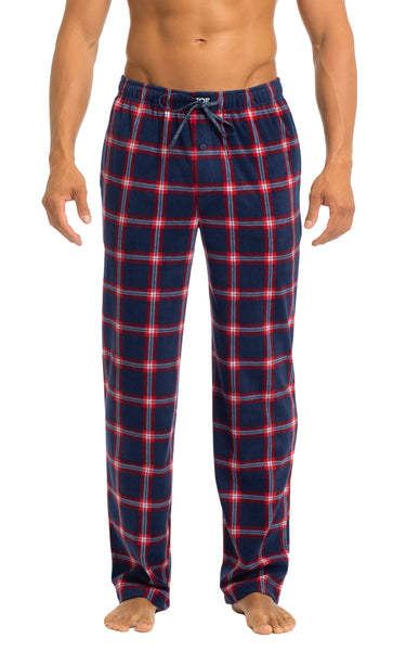 Men's Microfleece Pants | Red & Navy Plaid