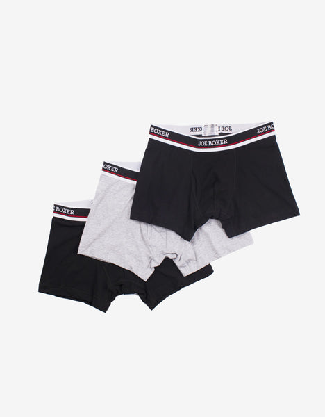 Black & Grey 3-Pack Boxer Briefs