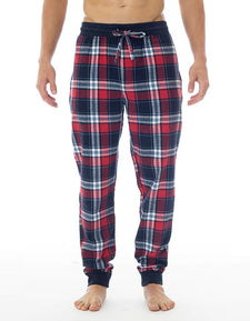 Men's Joggers | Plaid Flannel Red & Blue