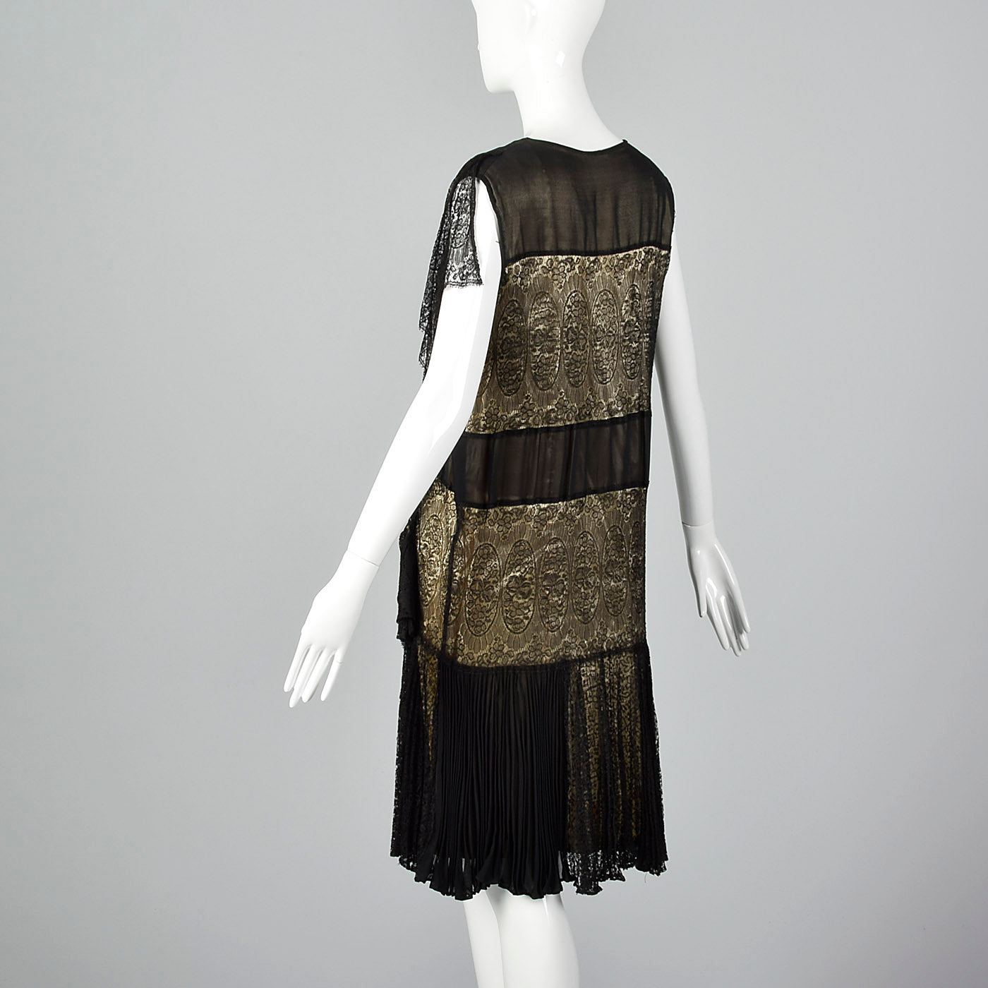 1920s Gorgeous Black Lace Overlay Dress