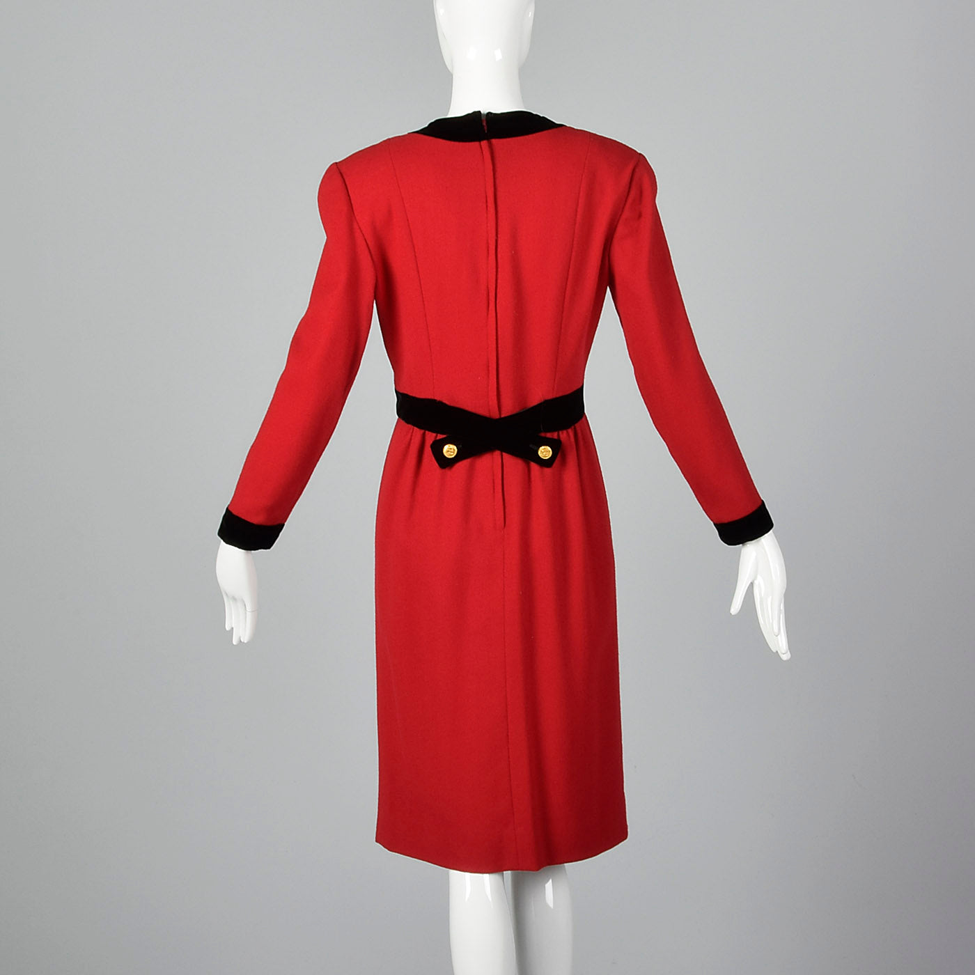 1980s Red Wool Dress with Black Velvet Trim