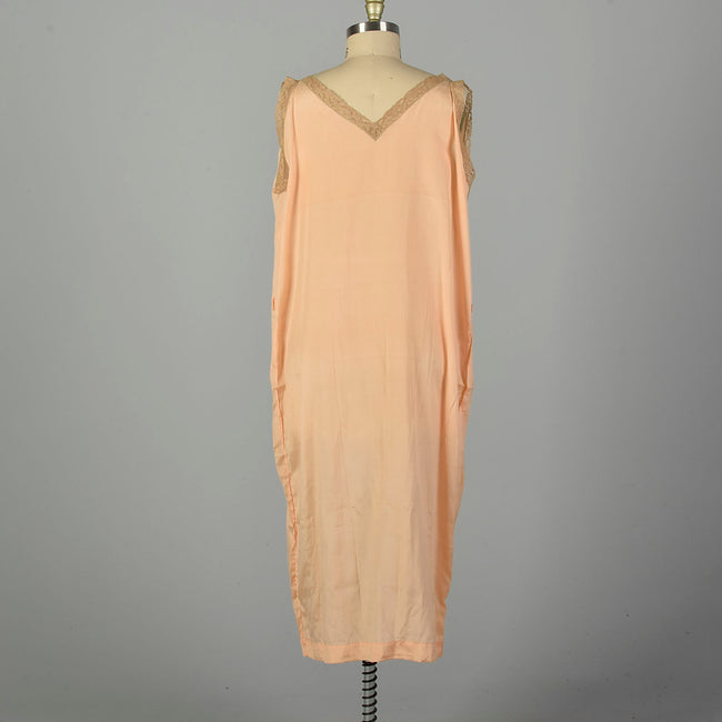 3XL 1920s Nightgown Boudoir Lingerie Peach Volup Sleeveless