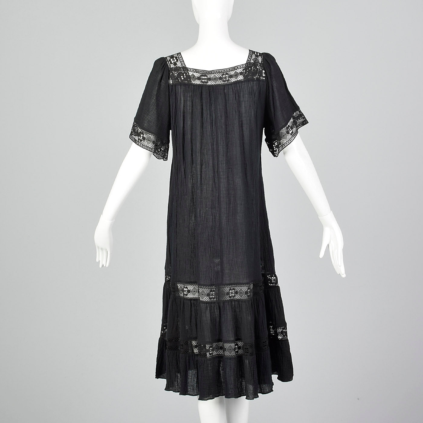 1970s Black Gauze Dress with Lace Trim
