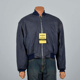 Large -XL 1960s Navy Blue Bomber Jacket