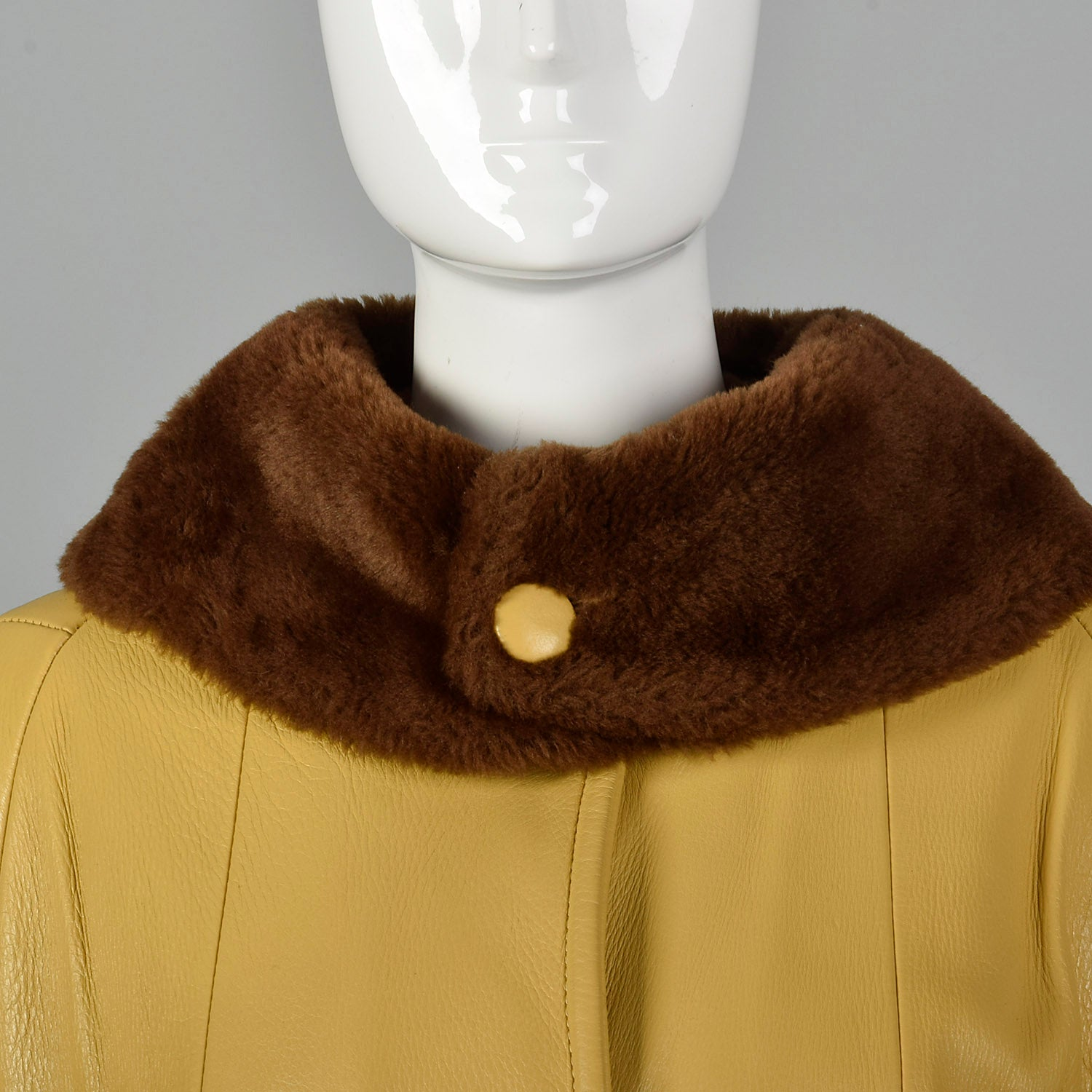 1960s Mustard Yellow Leather Jacket with Brown Faux Fur Trim
