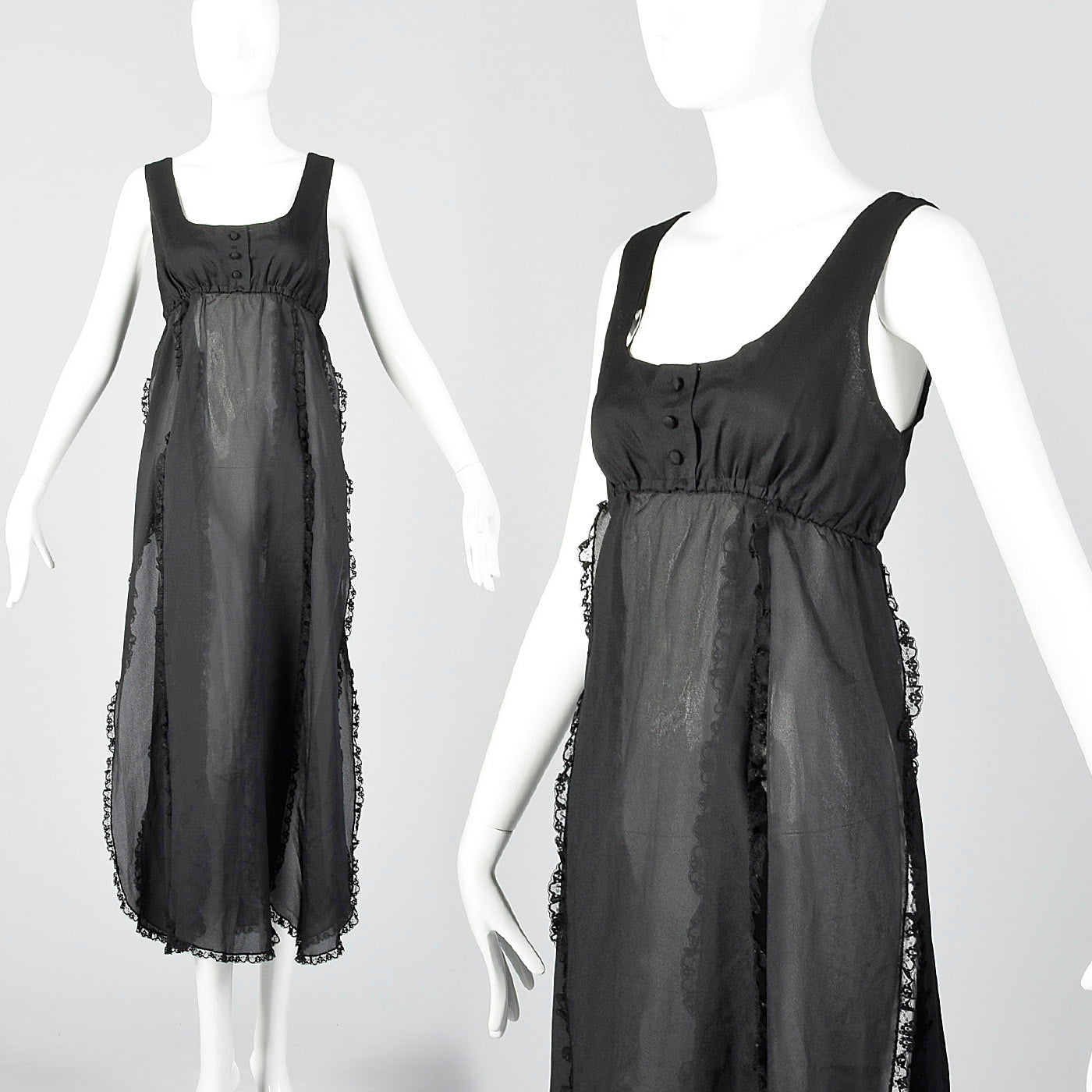 1970s Saks Fifth Avenue Sheer Black Nightgown with Car Wash Hem