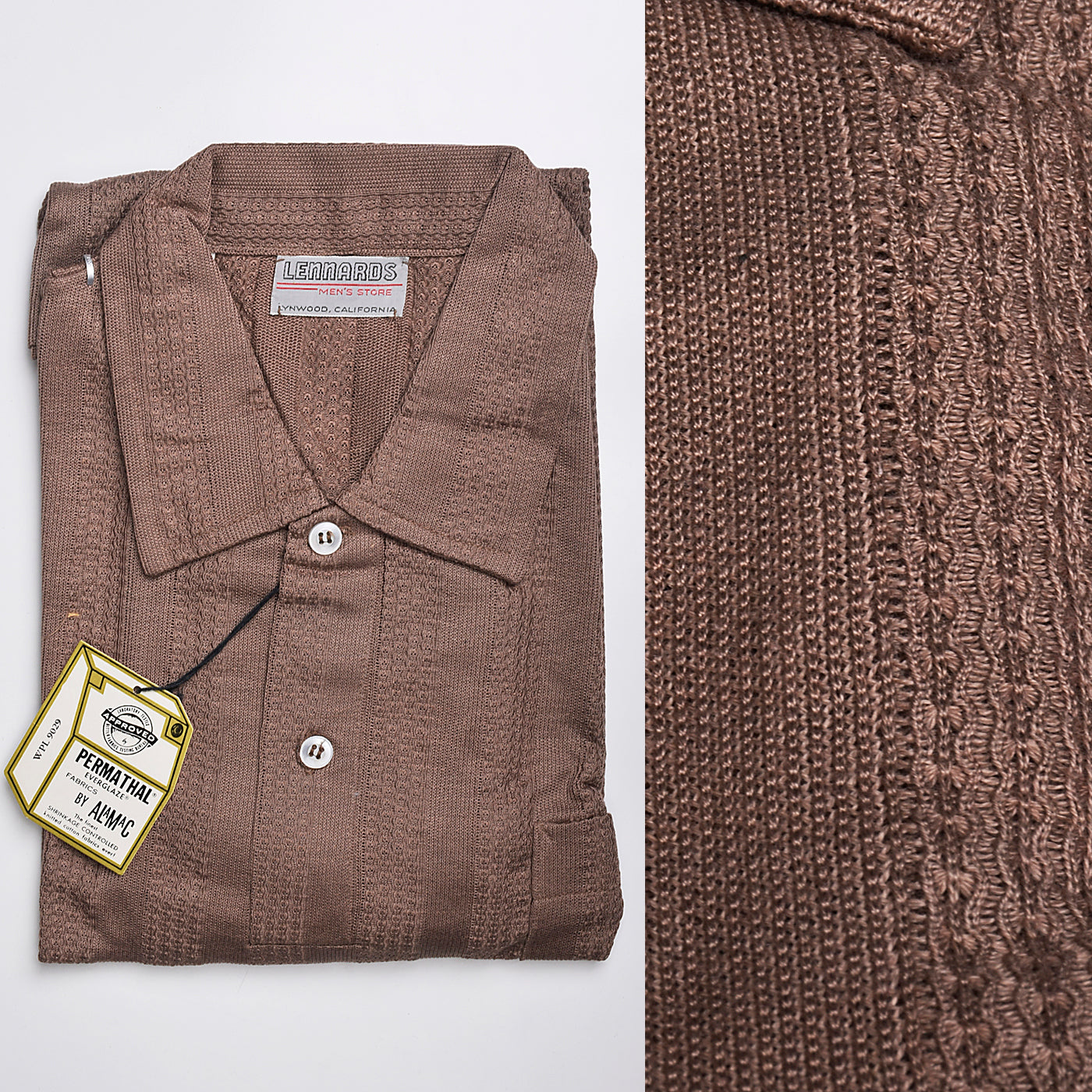 1950s Lennards Brown Knit Pull Over Shirt Deadstock