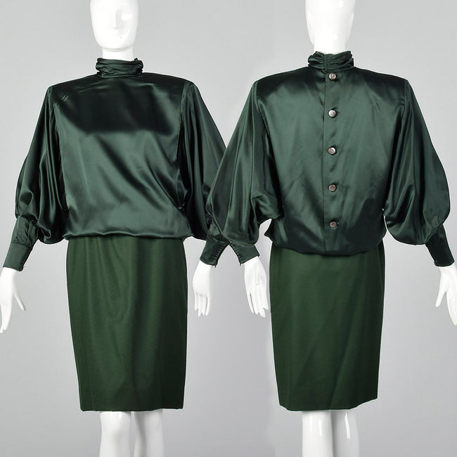 Small Galanos 1980s Green Silk and Wool Set