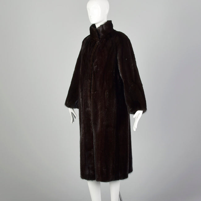 Large 1950s Black Mink Coat