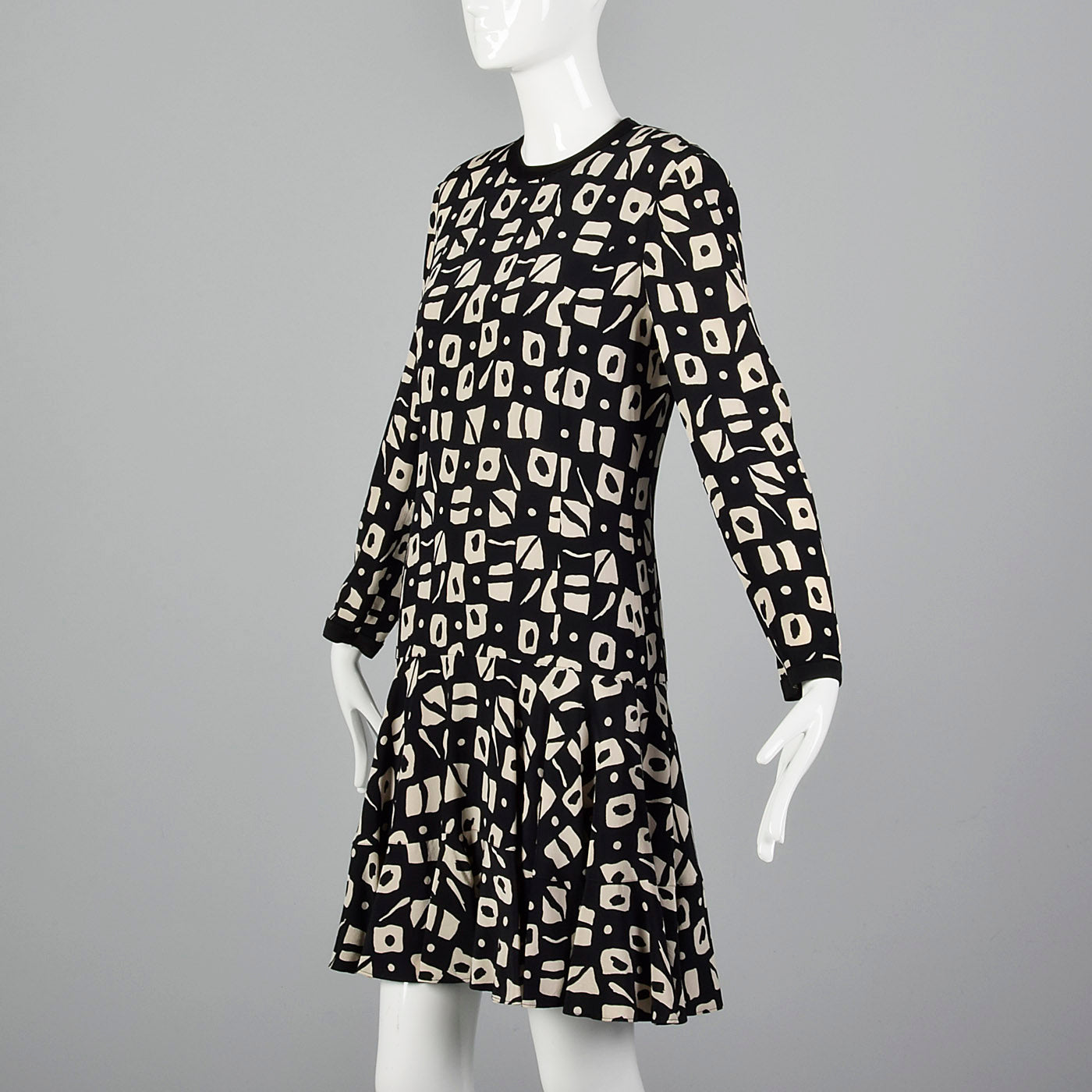 1980s Louis Feraud Black Print Dress with Drop Waist