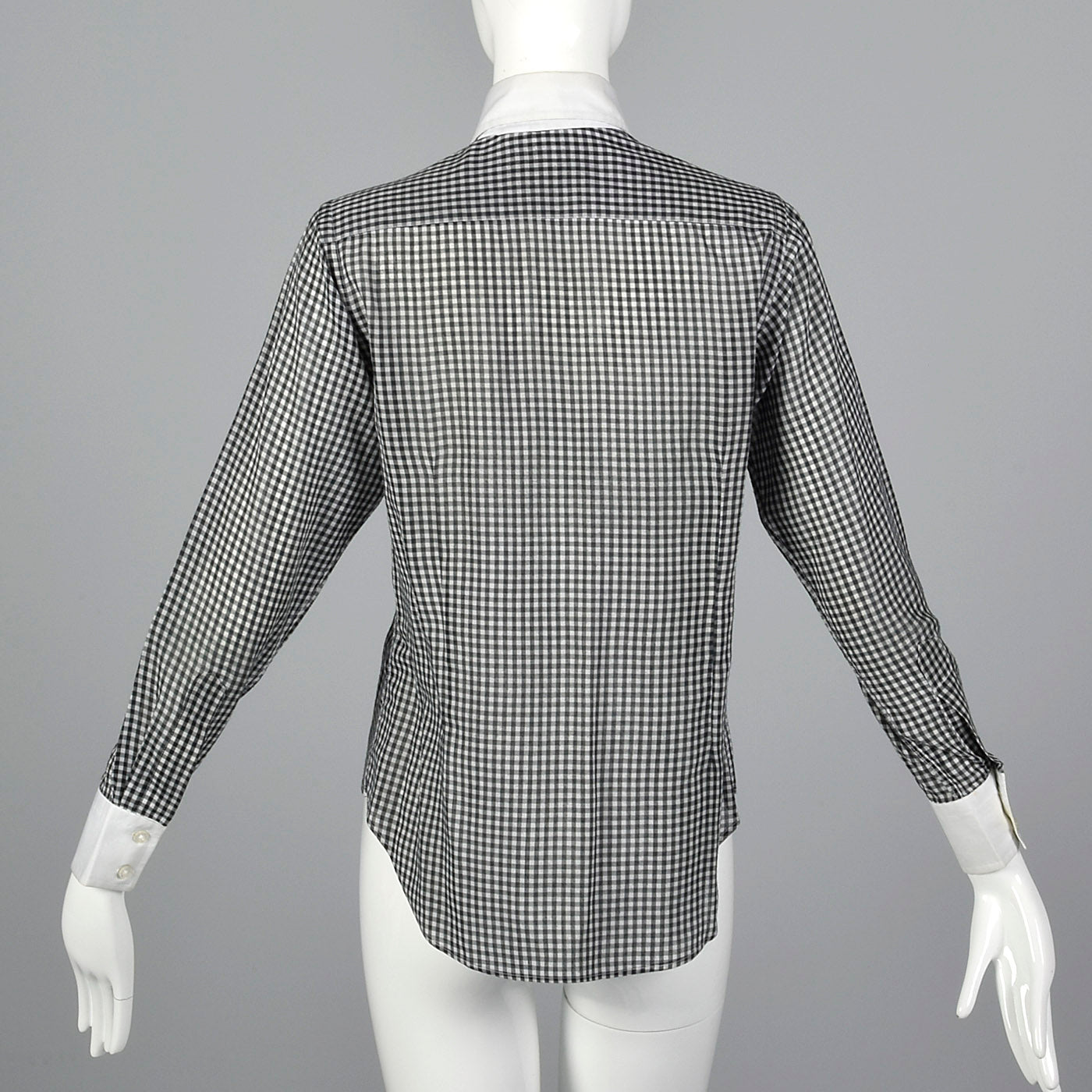1970s Black and White Gingham Blouse