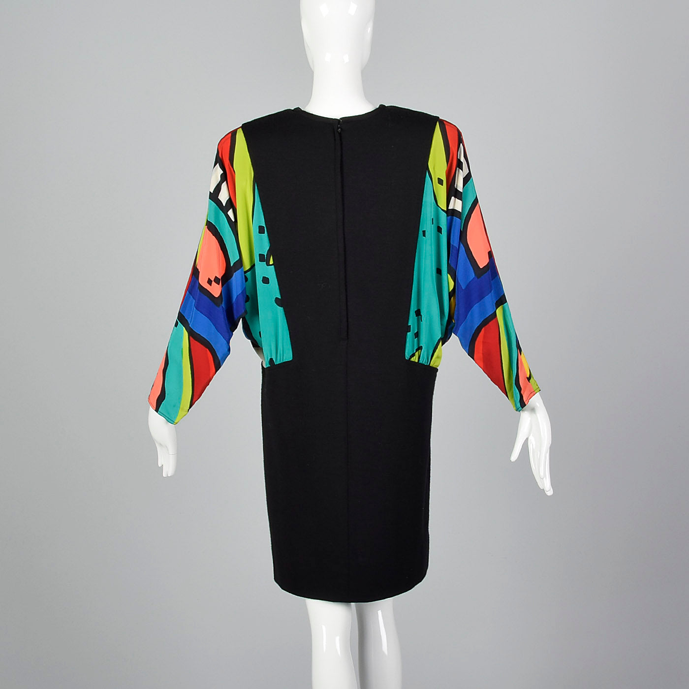 1980s Black Knit Dress with Colorful Silk Batwing Sleeves