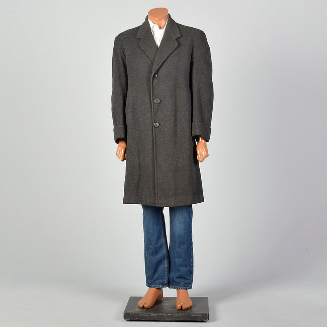 Medium 1950s Grey Burberry's Winter Coat Scottish Heavyweight Wool