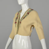XS 1950s Beige Cropped Cardigan Sweater with Hand Embroidered Beading and Velvet Trim