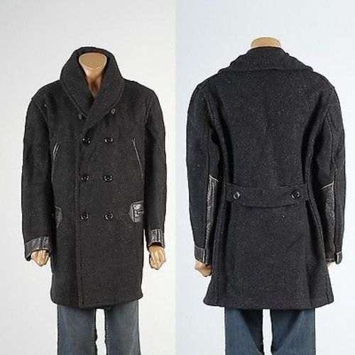 1920s Mens Heavy Weight Wool & Horsehide Mackinaw Railroad Work Wear Coat