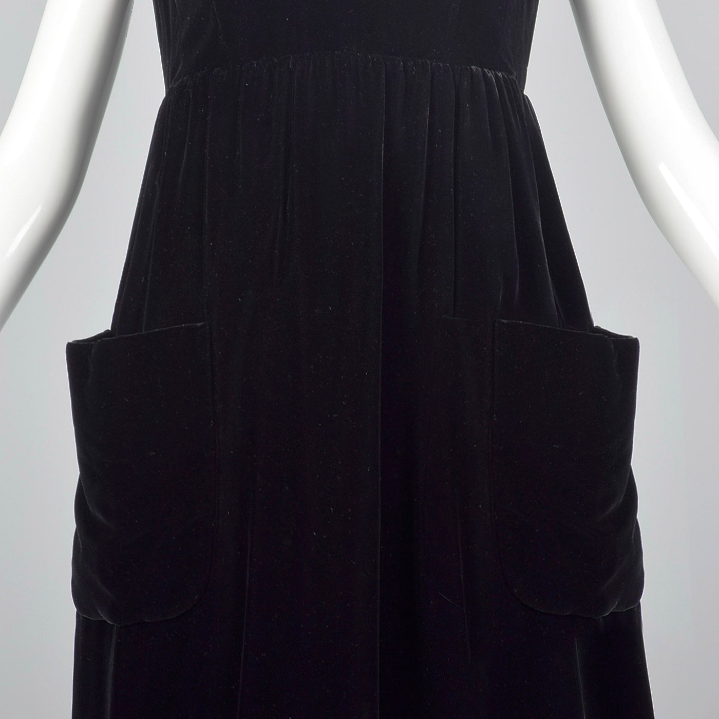1960s Geoffrey Beene Black Velvet Wrap Dress with Large Patch Pockets