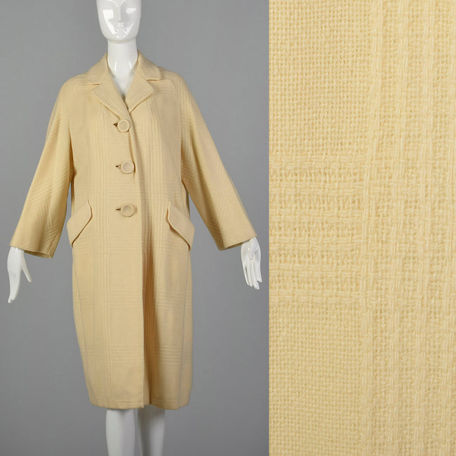 Small 1950s Cream Winter Coat