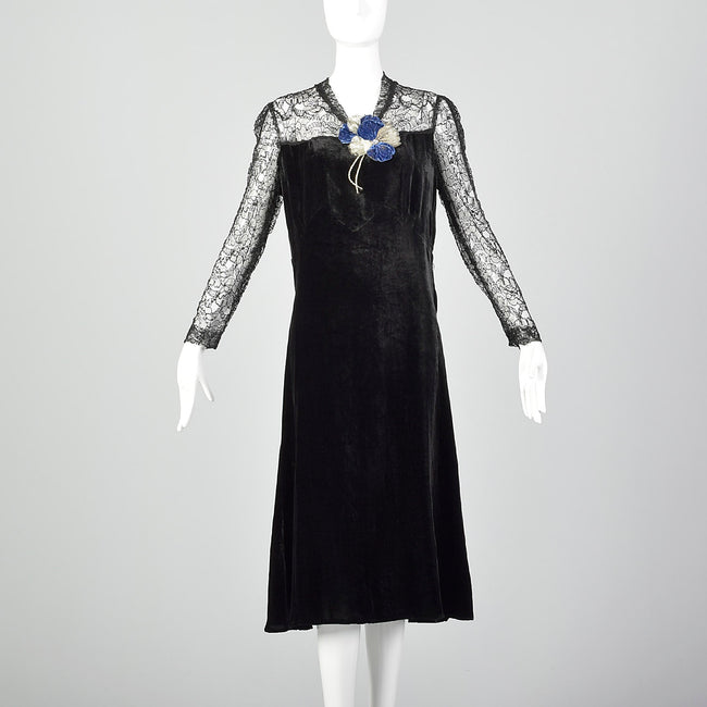 Medium 1930s Velvet Dress with Sheer Lace Top