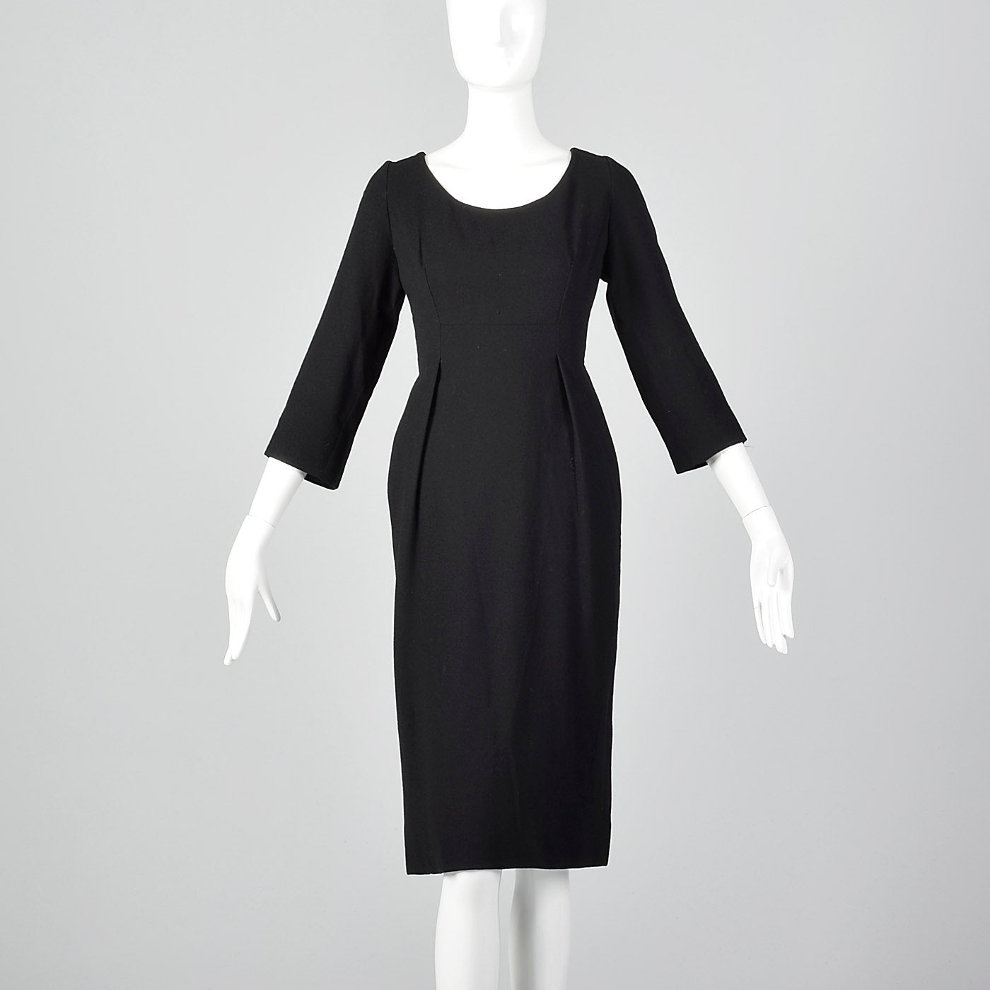 1970s Geoffrey Beene Black Pencil Dress