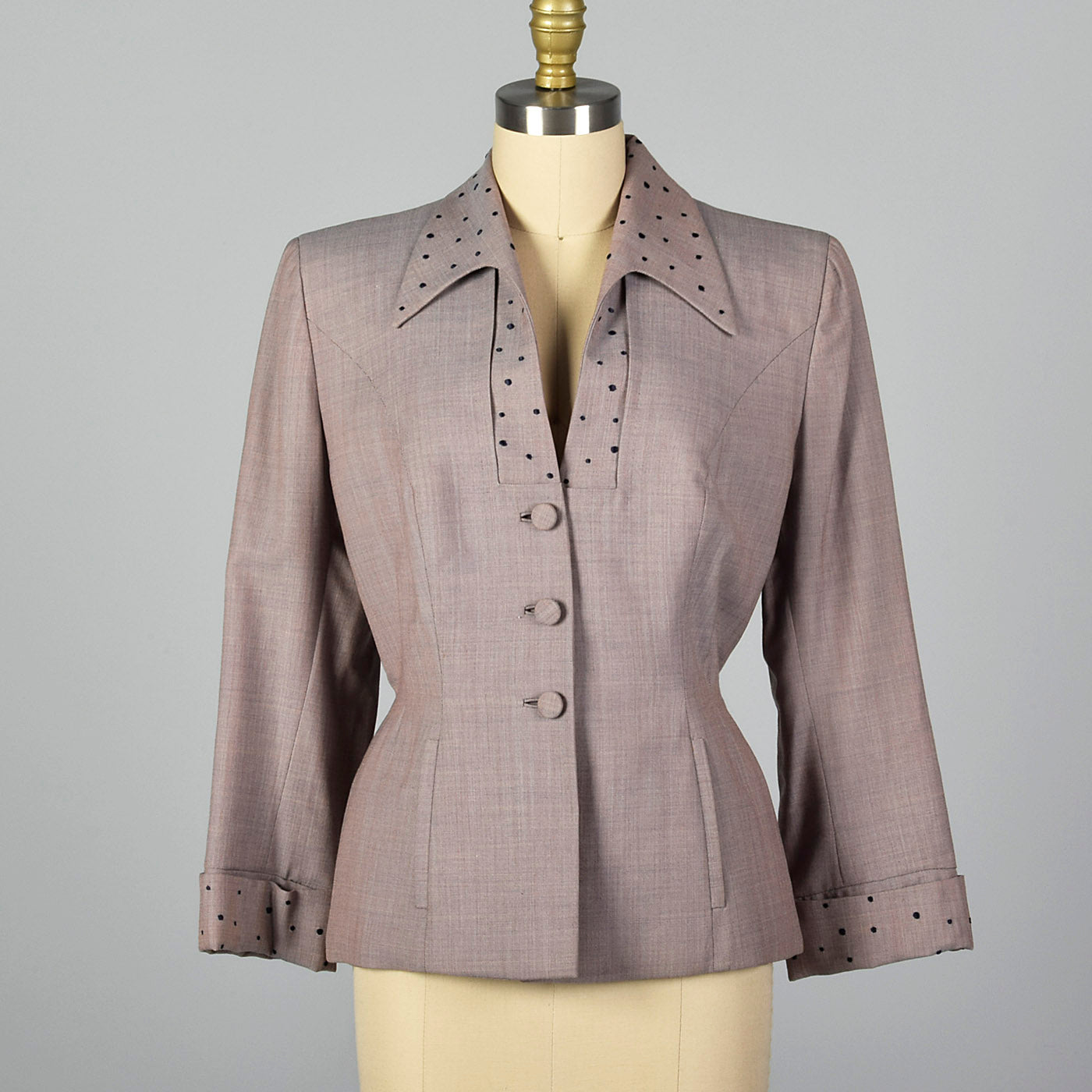 1950s Saks Fifth Avenue Edith Small Blazer with Polka Dot Details