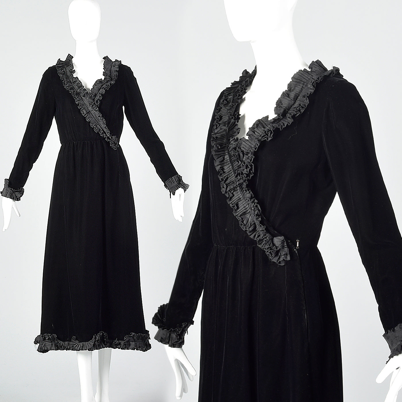 1970s Yves Saint Laurent Rive Gauche Black Velvet Dress with Ruffle Trim