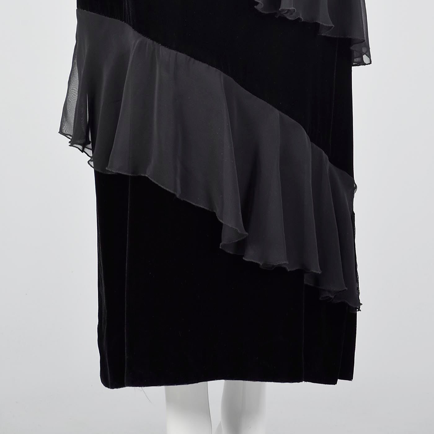 1980s Black Velvet Maxi Dress with Chiffon Ruffle